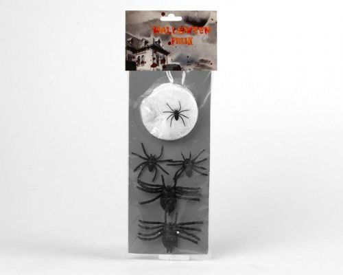Spiders 4 with Spiderweb 30 x 13cm Halloween Trick or Treat Bugs